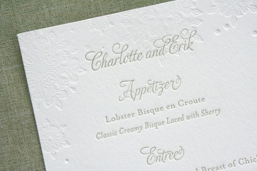 Pink Gray Letterpress Winter Snowflake Wedding Invitations Menu 500x333 Charlotte + Eriks Winter Snowflake Wedding Invitations