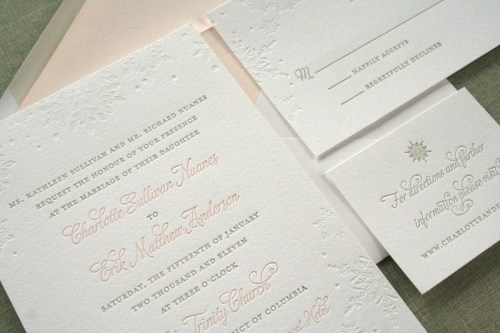 Pink Gray Letterpress Winter Snowflake Wedding Invitations 500x333 Charlotte + Eriks Winter Snowflake Wedding Invitations