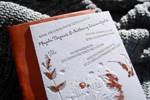 Print Cursive Modern Red Gray Letterpress Wedding Invitation3 500x333 Modern Copper + Gray Engagement Party Invitations