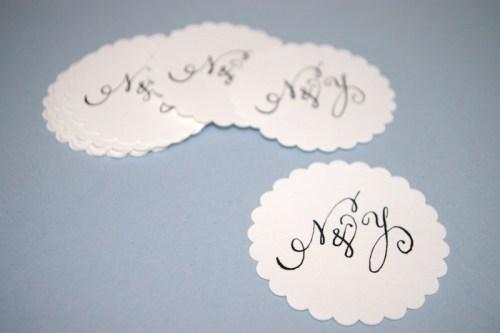 Swirly Romantic Calligraphy Scallop Coasters 500x333 Whimsical Calligraphy from Barbara Kua