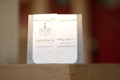 Rustic Letterpress Tree Chandelier Photographer Business Cards 500x333 Business Card Ideas and Inspiration #6