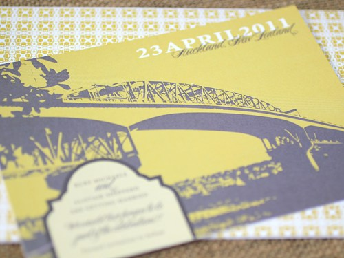 Yellow Gray New Zealand Wedding Invitation Suite Bridge Outline 500x375 Ruby + Alistairs New Zealand Waterfront Wedding Invitations