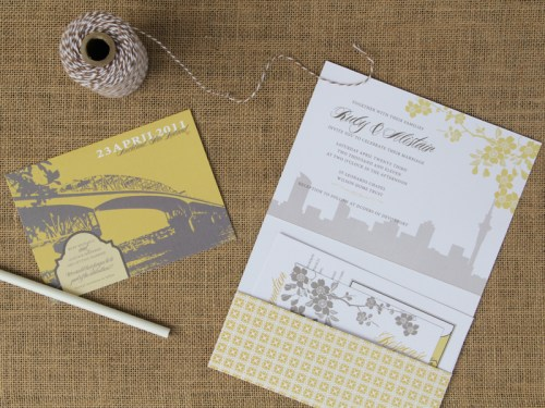 Yellow Gray New Zealand Wedding Invitation Suite City Skyline 500x375 Ruby + Alistairs New Zealand Waterfront Wedding Invitations