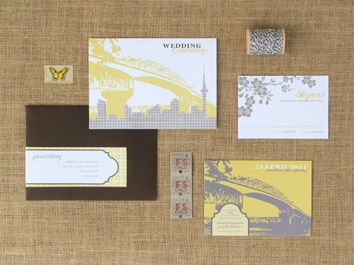 Yellow Gray New Zealand Wedding Invitation Suite 500x375 Ruby + Alistairs New Zealand Waterfront Wedding Invitations