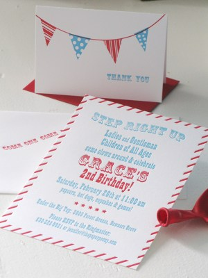 red white blue birthday party invitation 300x400 Red + Aqua Carnival Birthday Party Invitations for Grace!
