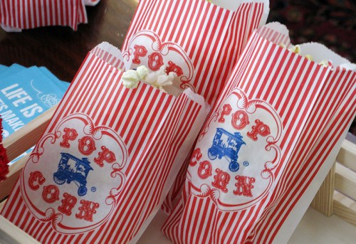 red white blue circus birthday party popcorn 500x343 Red + Aqua Carnival Birthday Party Invitations for Grace!