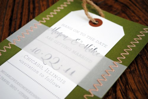 Chevron Stripe Stitched Wedding Save the Dates Detail 500x334 Megan + Mikes Chevron Stripe and Stitched Save the Dates