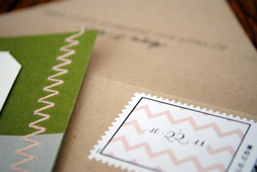 Chevron Stripe Stitched Wedding Save the Dates Stamp 500x335 Megan + Mikes Chevron Stripe and Stitched Save the Dates