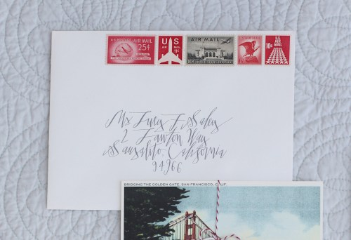 Classic Elegant Red White Gray Letterpress Wedding Invitations Envelope Calligraphy 500x342 Kathryn + Ryans Timeless Winter Wedding Invitations