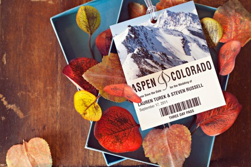 Fall Aspen Wedding Save the Dates2 500x333 Fall Ski Inspired Aspen Save the Dates