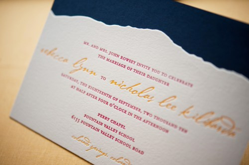 Colorado Rocky Mountains Blue Yellow Wedding Invitation Detail 500x332 Rebecca + Nicks Rocky Mountain Colorado Wedding Invitations