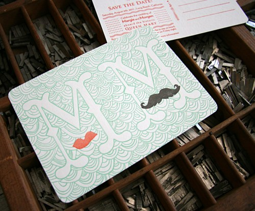 Queen Mary Mustache Letterpress Save the Dates Detail 500x414 Margie + Morgens Queen Mary Inspired Save the Dates