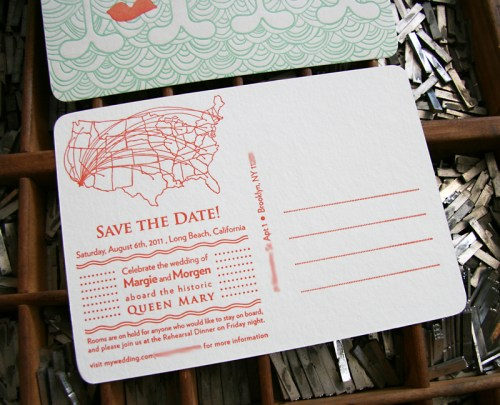Queen Mary Mustache Letterpress Save the Dates Text 500x405 Margie + Morgens Queen Mary Inspired Save the Dates