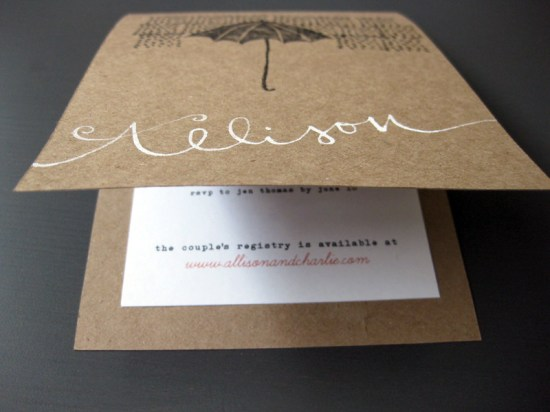 Bridal Shower Invitations Kraft Paper White Calligraphy Umbrella 550x412 Red, White + Kraft Bridal Shower Invitations