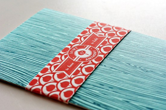 Modern Aspen Forest Letterpress Wedding Invitations Blue Red 550x366 Jaime + Anthonys Modern Woodgrain Wedding Invitations