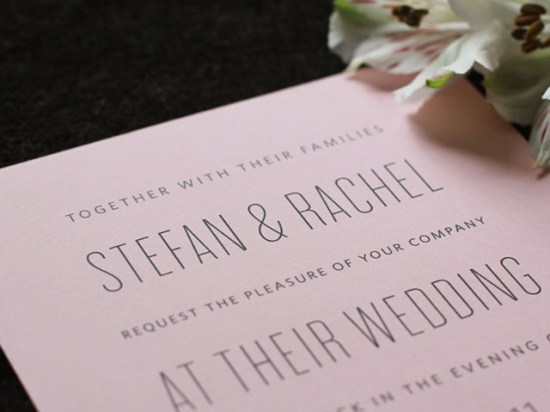 Modern Pink Wedding Invitations Font 550x412 Rachel + Stefans Modern Pink Wedding Invitations