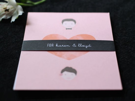 Modern Pink Wedding Invitations 550x412 Rachel + Stefans Modern Pink Wedding Invitations