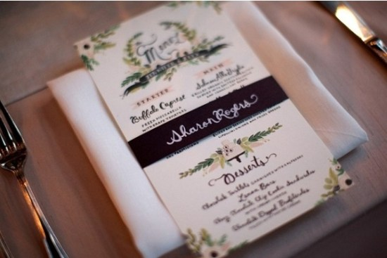 Rifle Paper Company custom wedding menu 550x367 Wedding Details: Creative Menu Ideas