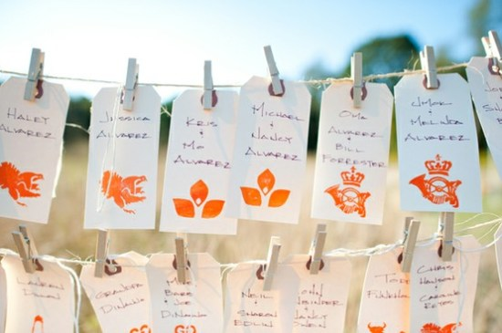 Stamp Escort Cards 550x365 Wedding Details: Escort Cards and Place Cards, Part 2
