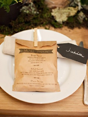 Wedding Menu Favor Bag Idea1 Wedding Details: Creative Menu Ideas