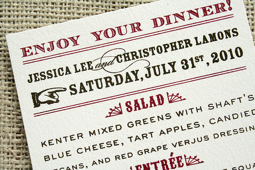 Western type wedding menu Wedding Details: Creative Menu Ideas