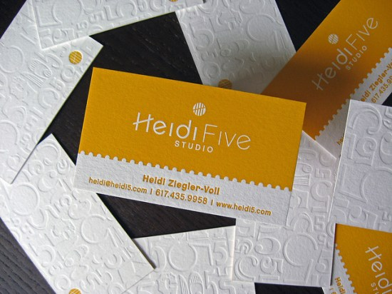 Yellow White Letterpress Business Card 550x412 Business Card Ideas and Inspiration #9