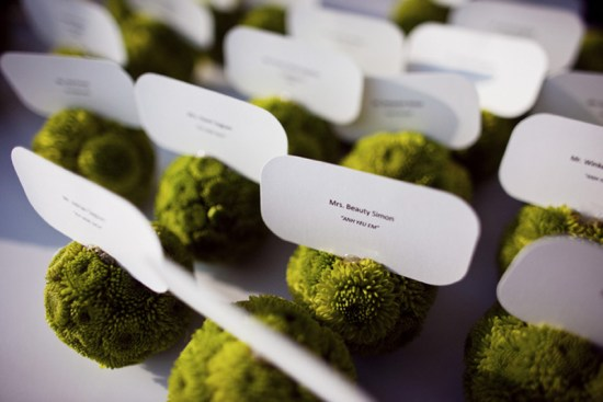 pomander escort cards 550x367 Wedding Details: Escort Cards and Place Cards, Part 2