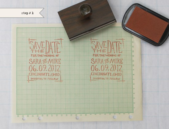 step1 550x420 DIY Tutorial: Geek Chic Graph Paper Save the Dates