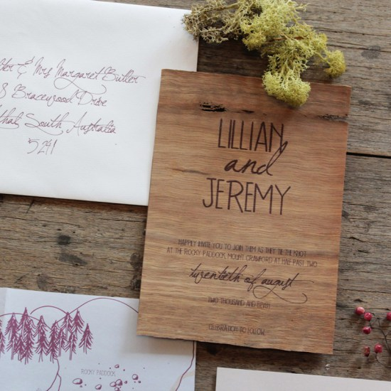 Earthy Wood Handwriting Wedding Invitation Akimbo Detail 550x550 Earthy Wood and Floral Wedding Invitation from Akimbo