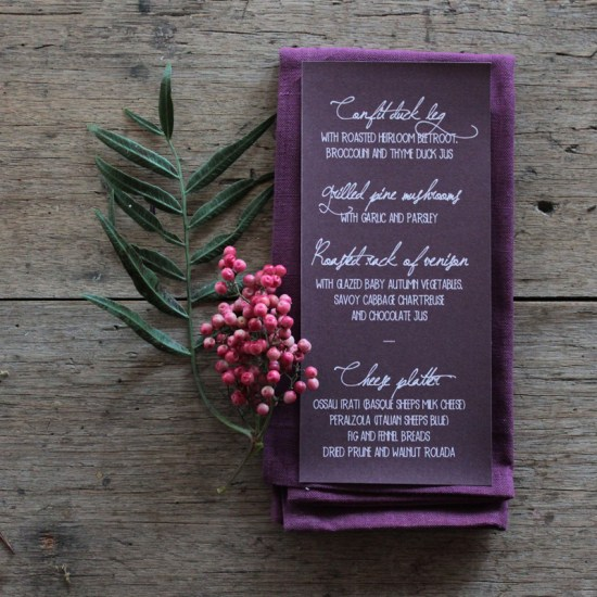 Earthy Wood Handwriting Wedding Invitation Akimbo Purple 550x550 Earthy Wood and Floral Wedding Invitation from Akimbo