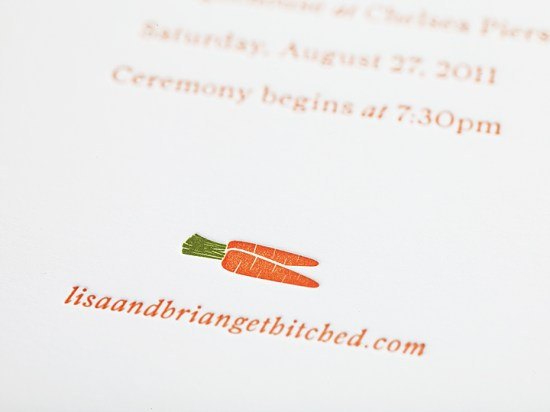 Enormous Champion Modern Foodie Letterpress Wedding Invitations Carrot 550x412 Lisa + Brians Modern Foodie Wedding Invitations