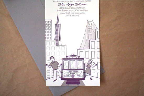 Modern Illustrated Letterpress Wedding Invitation Stinkerpants3 550x366 Kristen + Jays Modern Illustrated San Francisco Wedding Invitations