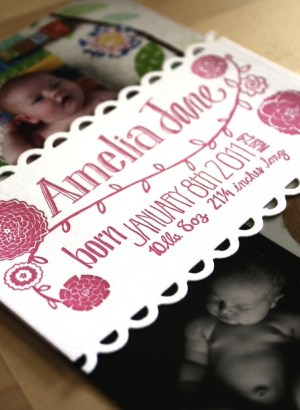 Pink Letterpress Photo Collage Baby Girl Birth Announcement2 300x410 Sweet Pink Birth Announcements for Baby Amelia