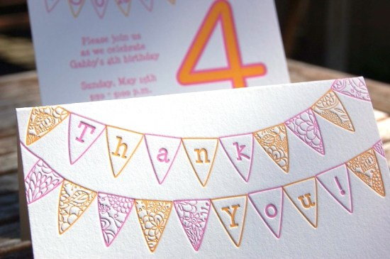 Pink Orange Letterpress Fourth Birthday Party Invitation Thank You Card 550x365 Gabbys Whimsical Pink + Orange 4th Birthday Party Invitations
