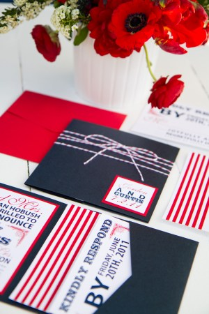 Red White Blue Wedding Invitations Stripes 300x450 Red, White + Blue Wedding Stationery Inspiration