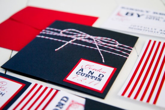 Red White Blue Wedding Invitations Twine2 550x366 Red, White + Blue Wedding Stationery Inspiration