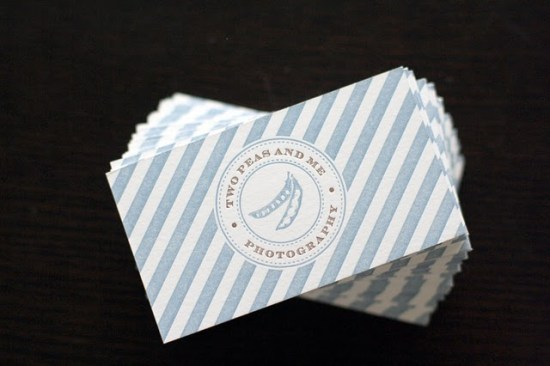 Striped Blue White Double Sided Letterpress Cards Truly Smitten 550x366 Business Card Ideas and Inspiration #10