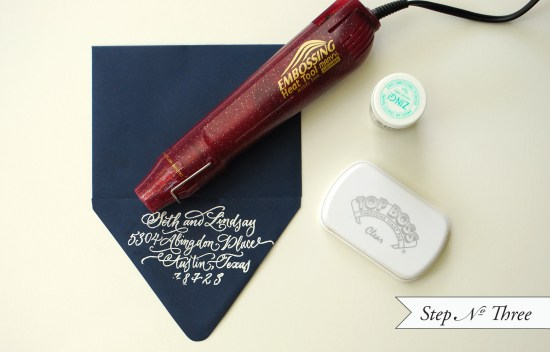 embossing 3 550x352 DIY Tutorial: Embossed Custom Stationery