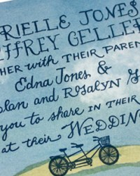 Custom Non-Traditional Watercolor Wedding Invitations by Bird and Banner