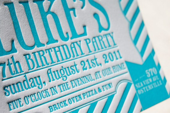 Blue Letterpress Striped Birthday Party Invitations 4 550x365 Lukes Striped Letterpress Birthday Party Invitations