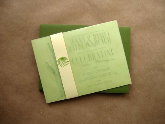 Cactus Green White Wedding Invitations3 550x412 Jenna + Daniels Desert Cactus Wedding Invitations