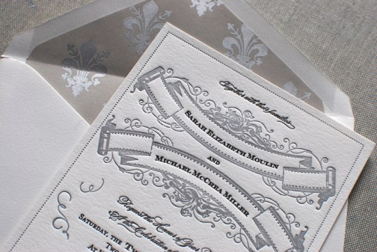 Art Deco Great Gatsby Wedding Invitations Aerialist Press3 550x368 Sarah + Michaels Vintage Inspired Wedding Invitations