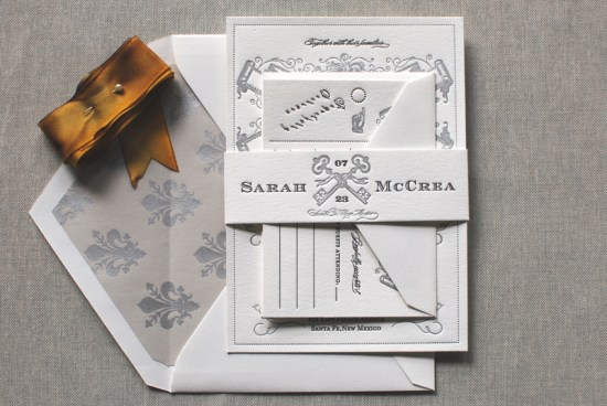 Art Deco Great Gatsby Wedding Invitations Aerialist Press4 550x368 Sarah + Michaels Vintage Inspired Wedding Invitations