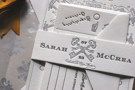 Art Deco Great Gatsby Wedding Invitations Aerialist Press5 550x368 Sarah + Michaels Vintage Inspired Wedding Invitations