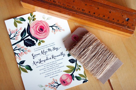 Floral Australia Wedding Invitation Rifle Paper Co 550x366 Jenna + Asas Floral Wedding Invitations from Rifle Paper Co.