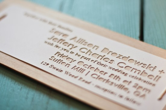 Laser Cut Wedding Invitations Fourth Year Studio 550x366 Sara + Jeffs Laser Etched Wood Veneer Wedding Invitations