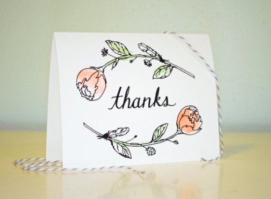 Moikka Illustrated Cards Peony Thank You 550x404 Sweet + Simple Illustrated Cards from Moikka