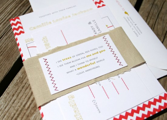 Red Chevron Stripe and Linen Wedding Invitations 550x395 Camille + Andrews Red Chevron and Linen Wedding Invitations