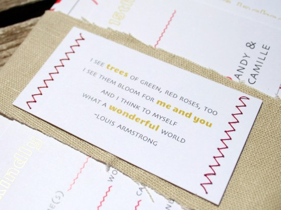 Red Chevron Stripe and Linen Wedding Invitations3 550x412 Camille + Andrews Red Chevron and Linen Wedding Invitations