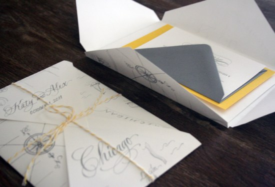 Yellow Gray Elegant Letterpress Wedding Invitations Map Open 550x373 Katie + Alexs Elegant Chicago Map Wedding Invitations